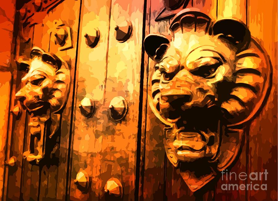 Lions Painting - Lion Heads Gothic Door by John Malone Halifax Artist