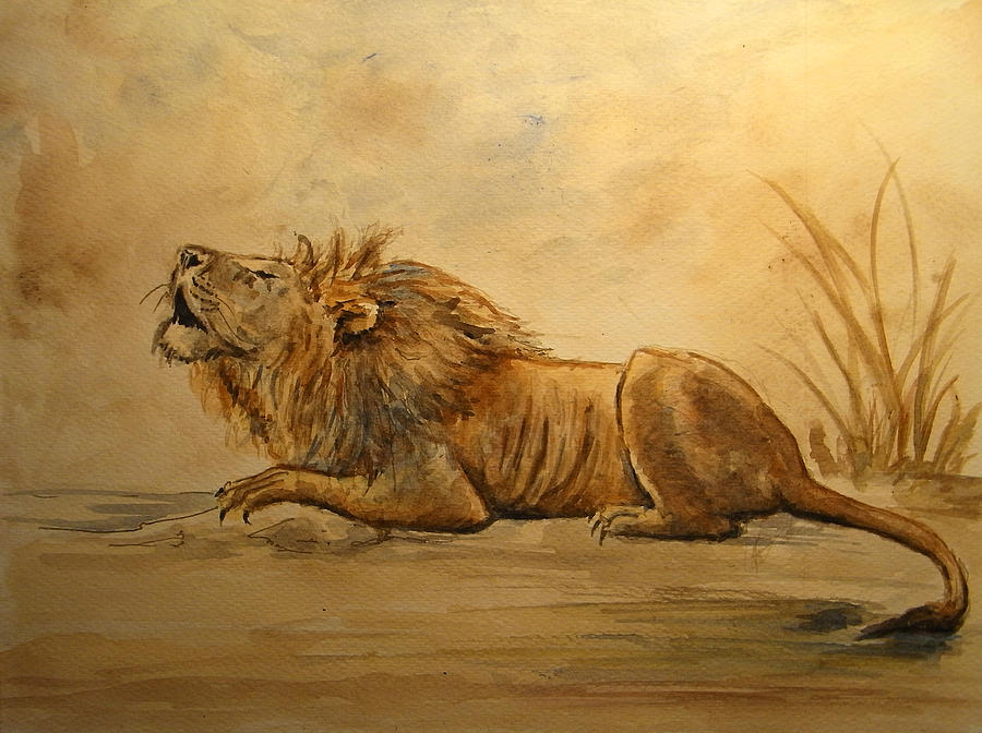 Lion Painting - Lion by Juan  Bosco