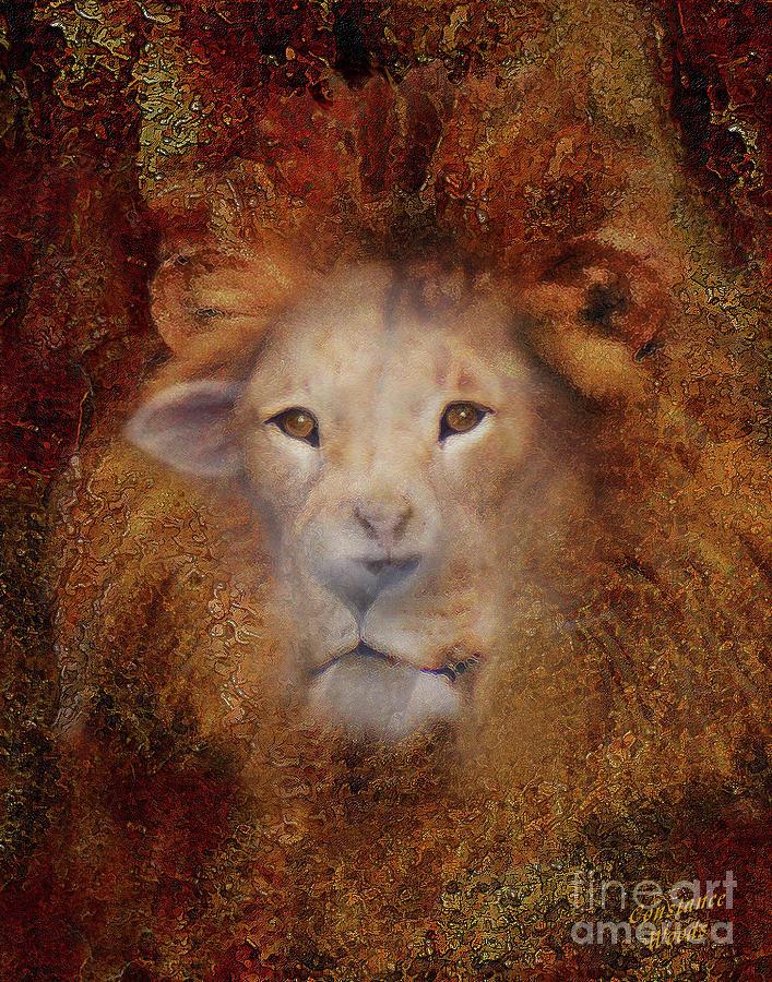 Lion Digital Art - Lion Lamb Face by Constance Woods