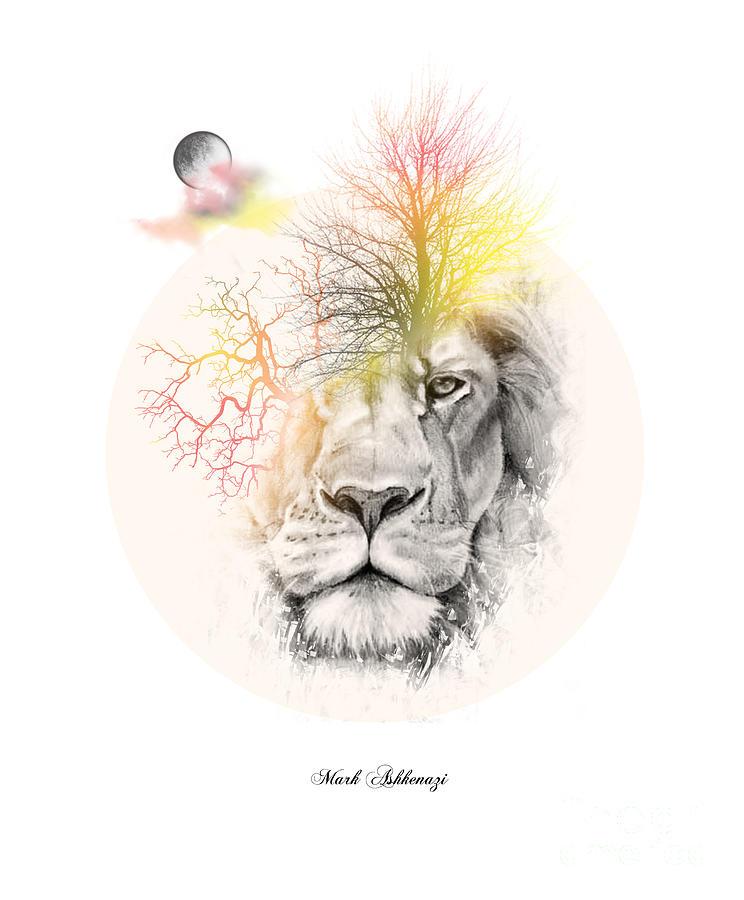 Lion Digital Art - Lion by Mark Ashkenazi