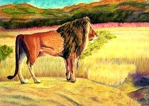 Lion Observing Painting by Jay Johnston