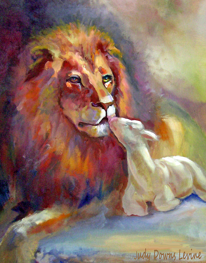Lion Painting - Lion Of Judah Lamb Of God by Judy Downs