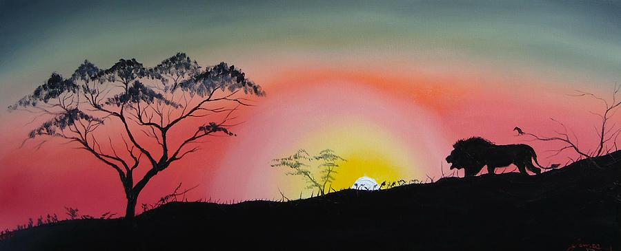 Lion Of The Serengeti Painting by Dunbars Modern Art
