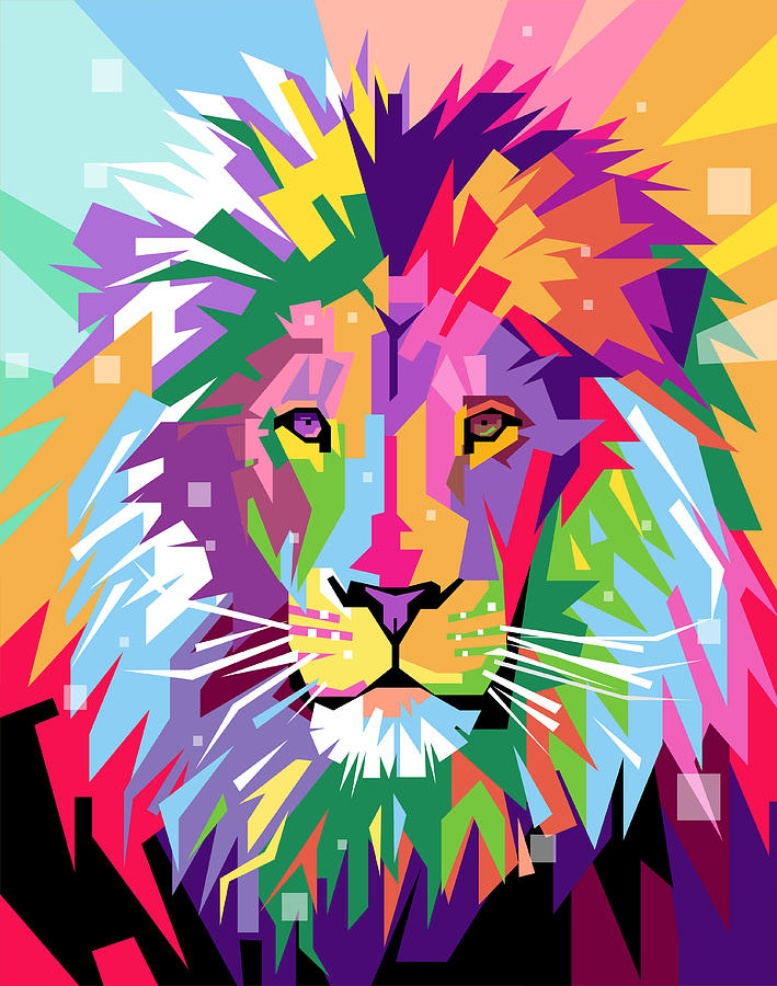 Lion Pop Art Digital Art By Ahmad Nusyirwan