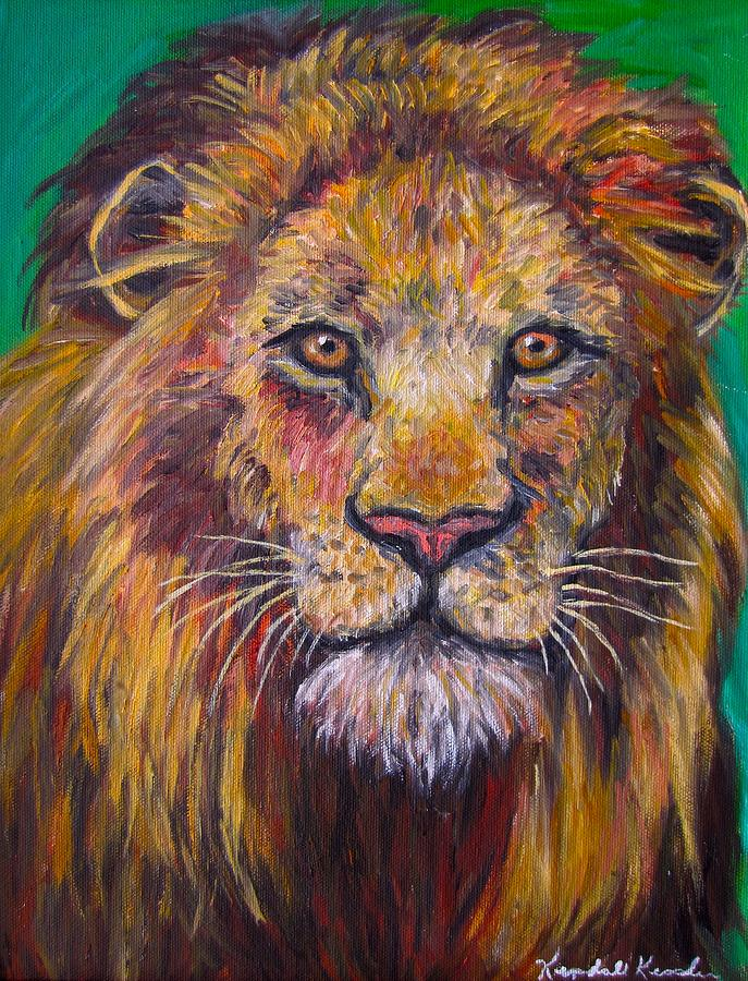 Lion Painting - Lion Stare by Kendall Kessler