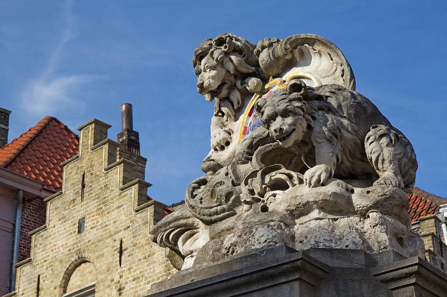 Statue Photograph - Lion Statue In Bruges by Jaroslav Frank