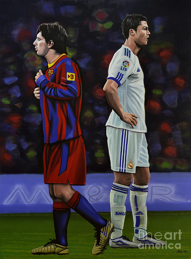 Lionel Messi Painting - Lionel Messi And Cristiano Ronaldo by Paul Meijering