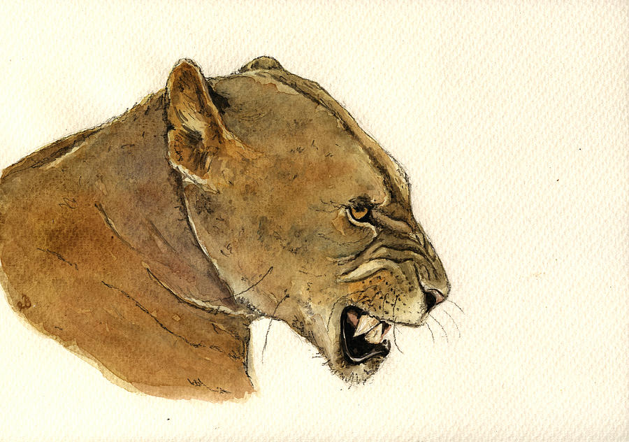 Lion Painting - Lioness by Juan  Bosco