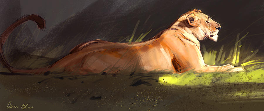 Lioness Digital Art - Lioness Sketch by Aaron Blaise