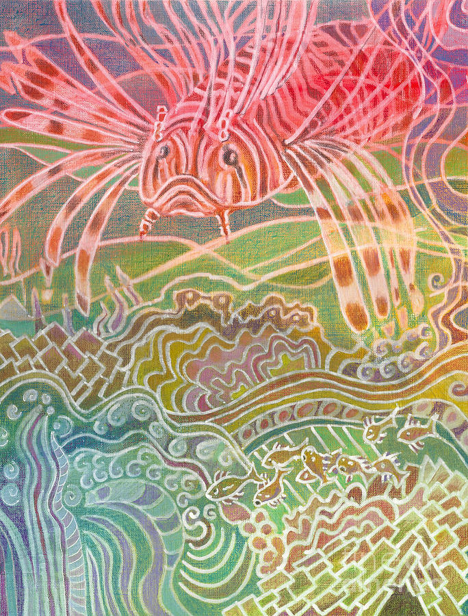 Fish Painting - Lionfish Roams by Amelia at Ameliaworks
