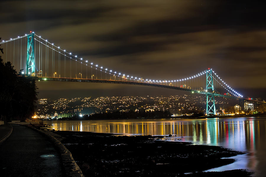 Lions Photograph - Lions Gate Bridge At Night by David Gn