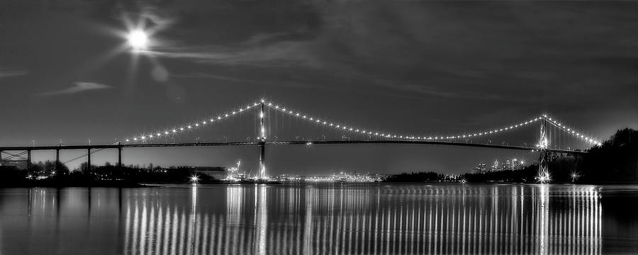 Lions Gate Bridge Photograph - Lions Gate Bridge Black And White by Naman Imagery
