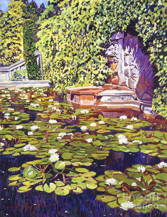 Gardens Painting - Lions Head Fountain by David Lloyd Glover