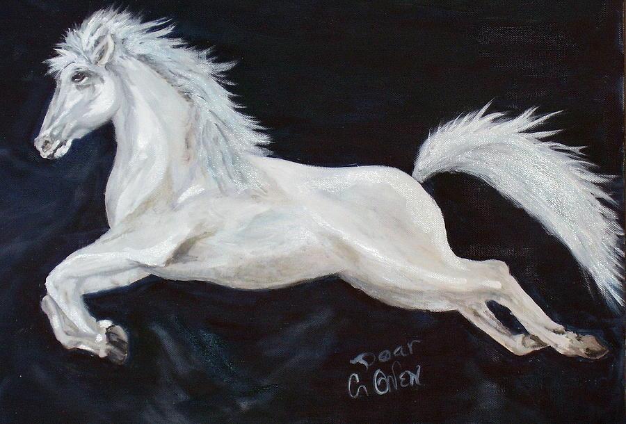 Horse Painting - Lipizzaner Capriole by Caroline Owen-Doar