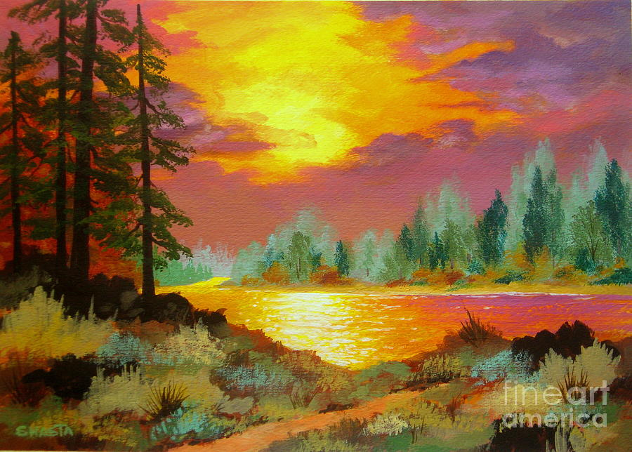 Serenity Scenes Serenity Landscapes Landscape Shasta Eone Fine Art Acrylic Impressionist Impressionism Forest Woods Sunset Sunrise Water River Light Reflection Featured Painting - Liquid  Gold  by Shasta Eone