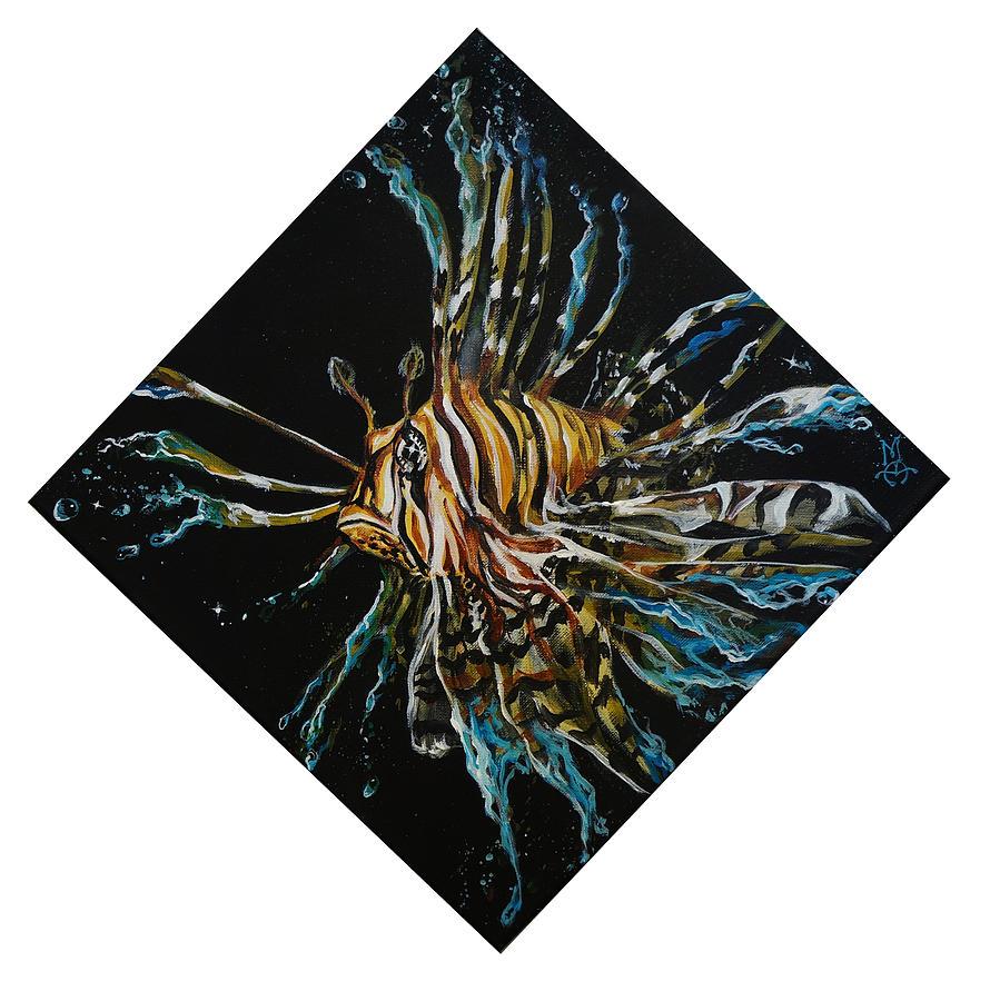 Lionfish Painting - Liquid Lion by Marco Antonio Aguilar