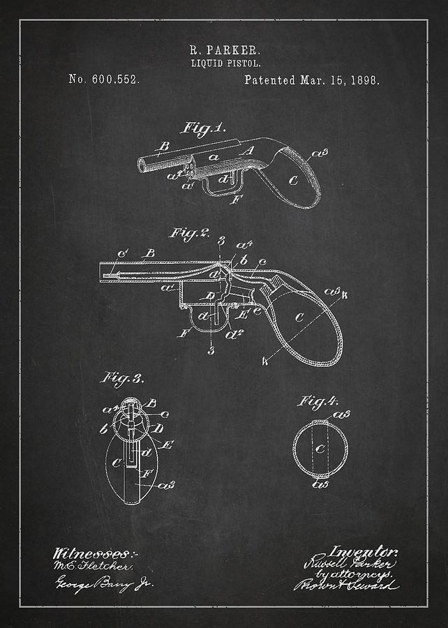Revolver Digital Art - Liquid Pistol Patent by Aged Pixel