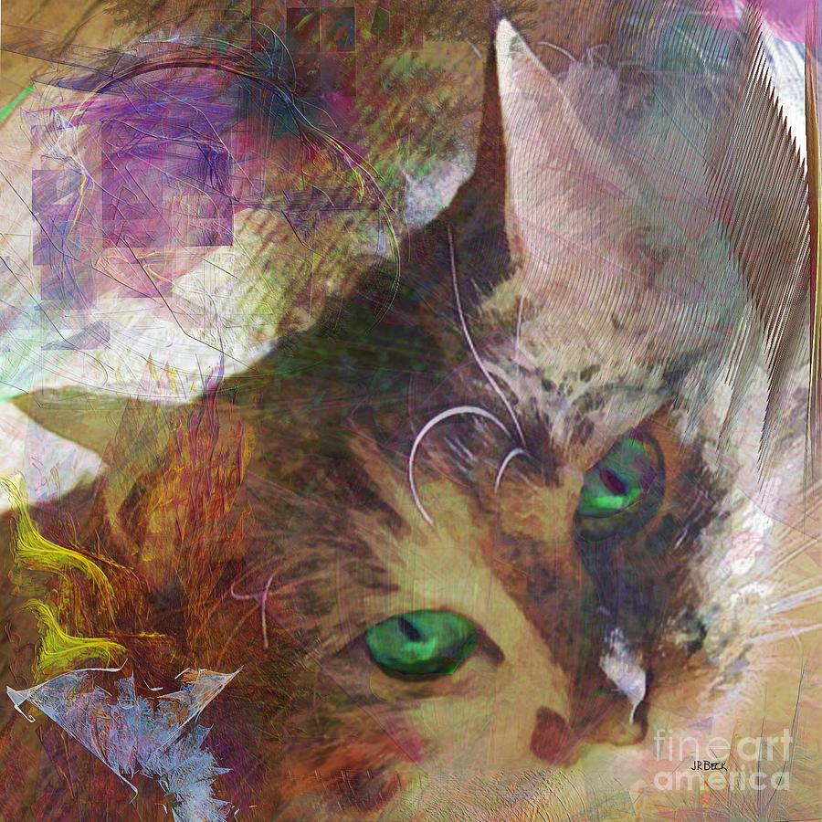 Cat Digital Art - Lisa Beckons - Square Version by John Robert Beck