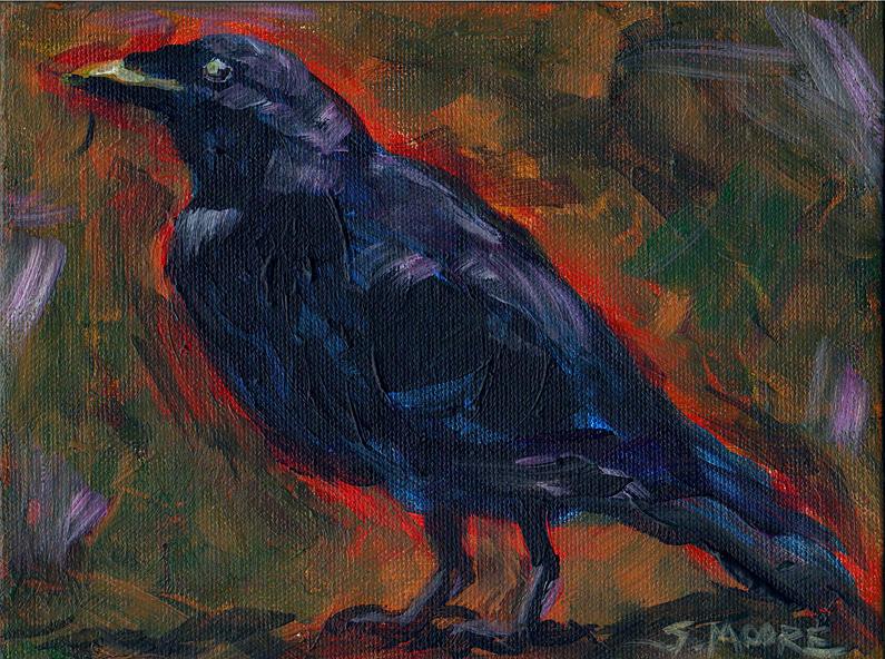 Black Bird Painting - Lisas Blackbird by Susan Moore