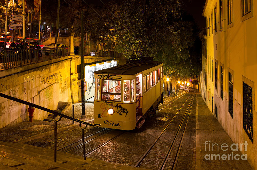 Old Photograph - Lisbon Gloria Funicular Night Shot by Kiril Stanchev