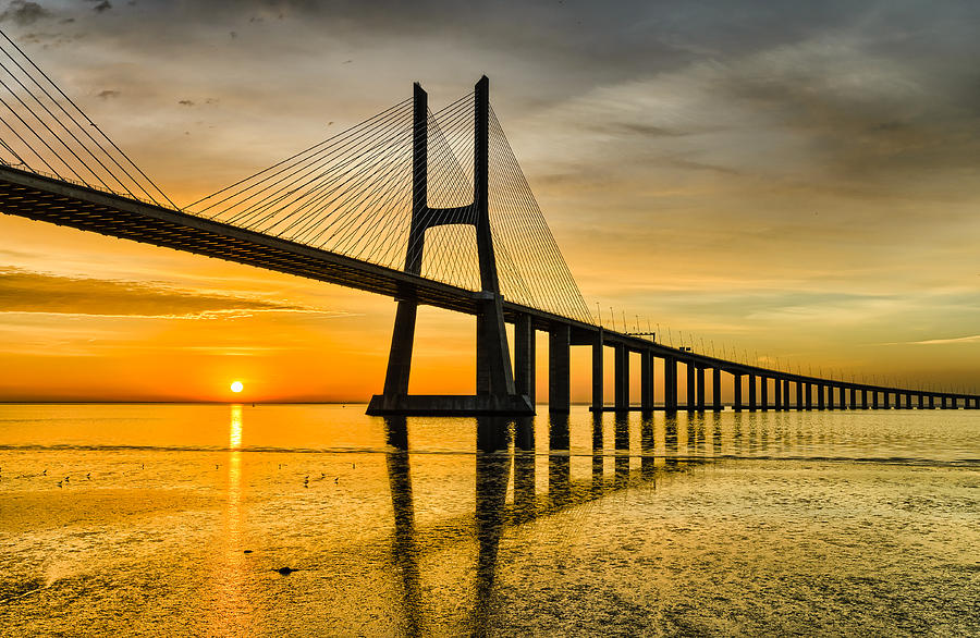 Vasco Da Gama Photograph - Lisbon Sunrise by Michael Abid
