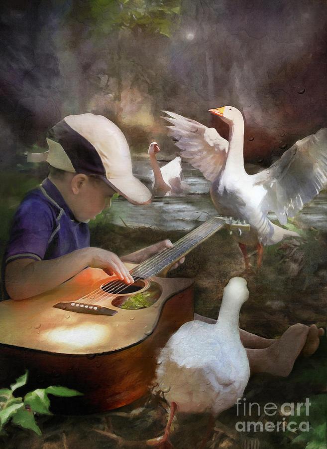 Magical Digital Art - Listen To The Music by Adelita Rog