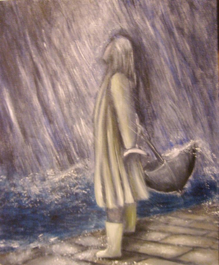 listen to the rhythm of the falling rain painting by lisa carlen