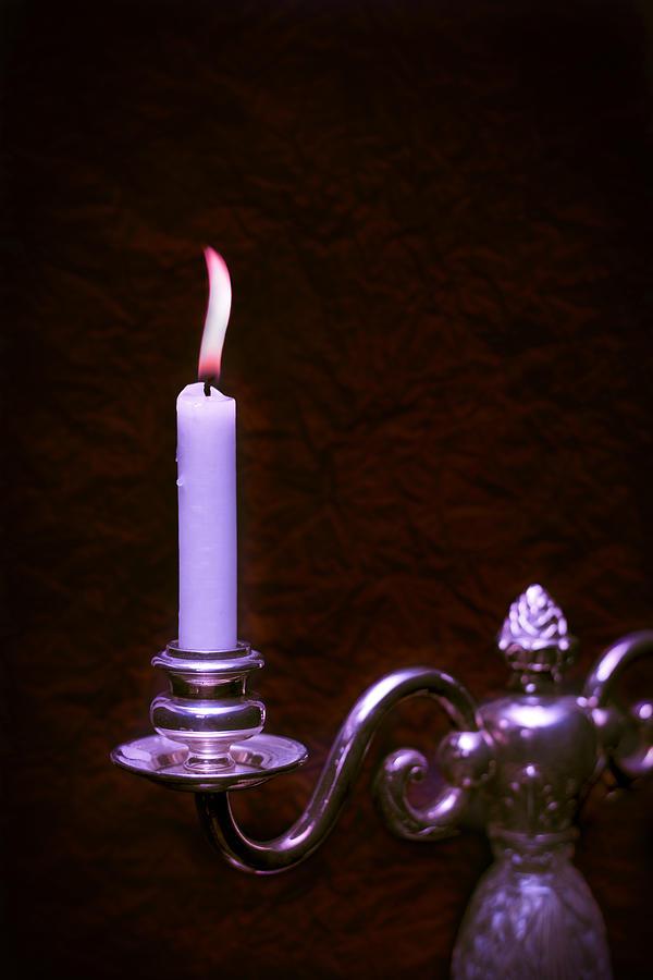 Lit Photograph - Lit Candle by Amanda Elwell