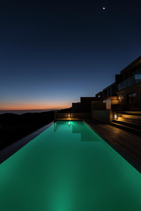 Lit Up In Ground Pool In Luxury Villa Photograph by Mseidelch