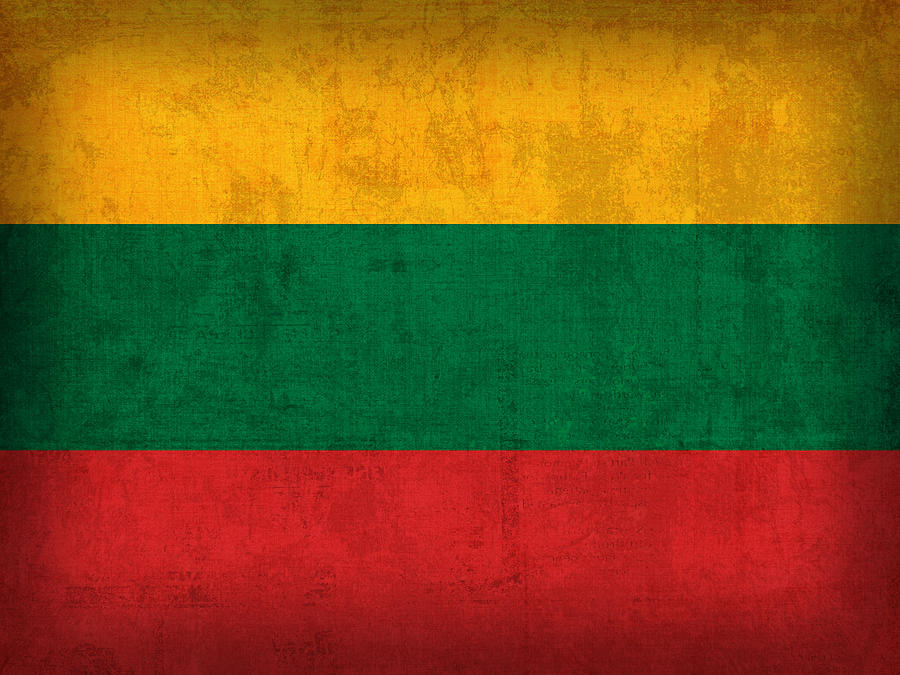 Lithuania Mixed Media - Lithuania Flag Vintage Distressed Finish by Design Turnpike