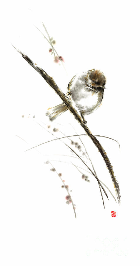 Sumi E Painting - Little Bird On Branch Watercolor Original Ink Painting Artwork by Mariusz Szmerdt