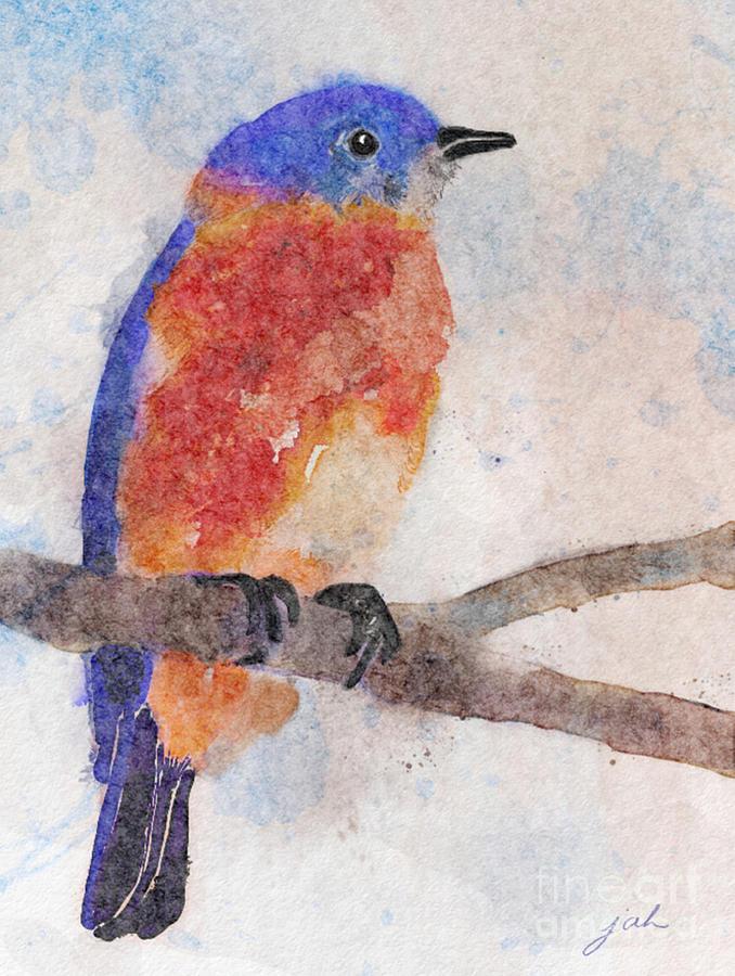 Bluebird Painting - Little Bluebird by Joan A Hamilton