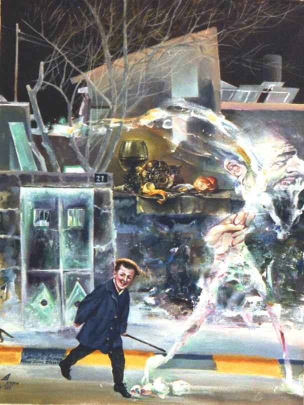 Jerusalem Painting - Little Boy Droving The Artists Despair Down Zipori Street by Nekoda  Singer