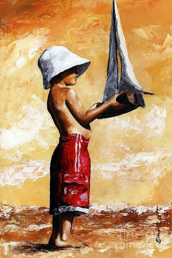 Little Boy Painting - Little Boy In The Beach by Emerico Imre Toth