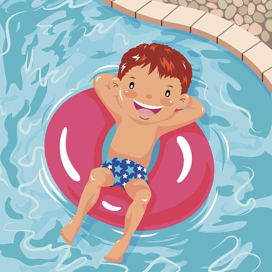 Little Boy Sunbathing On Inner Tube In Swimming Pool by Exxorian