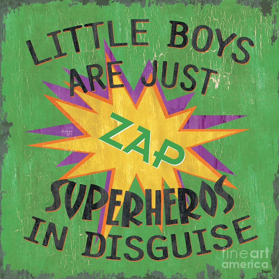 Kids Painting - Little Boys Are Just... by Debbie DeWitt