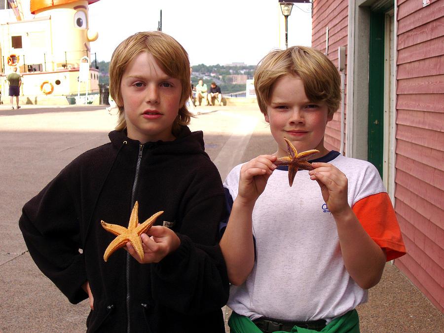 Boys Photograph - Little Boys At Halifax Harbour by Brenda Anne Foskett