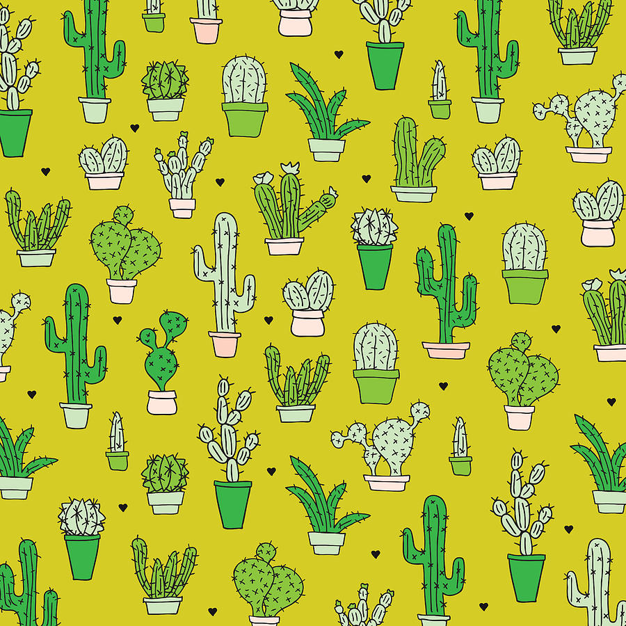 Little cactus botanical garden drawing by maaike boot