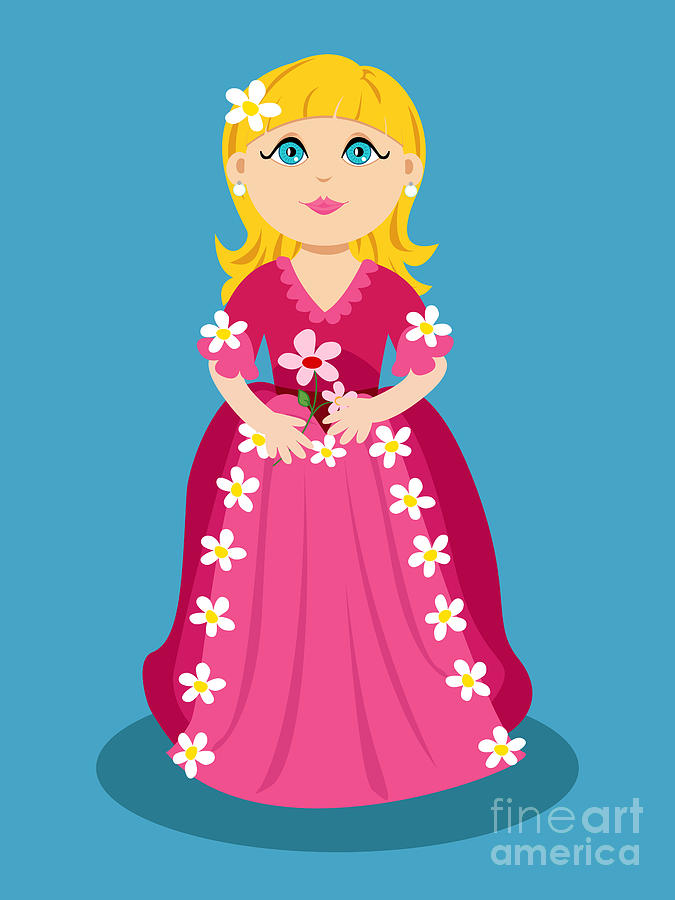 Cartoon Digital Art - Little Cartoon Princess With Flowers by Sylvie Bouchard