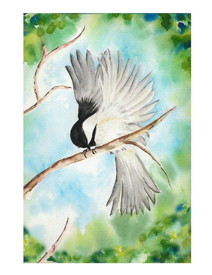 Chickadee Painting - Little Chickadee by Patty Pickles
