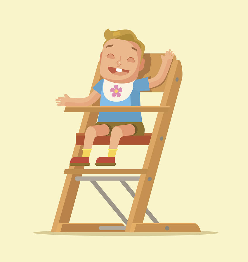Amazing Little Child Sitting On Chair Vector Flat Cartoon Illustration Gmtry Best Dining Table And Chair Ideas Images Gmtryco