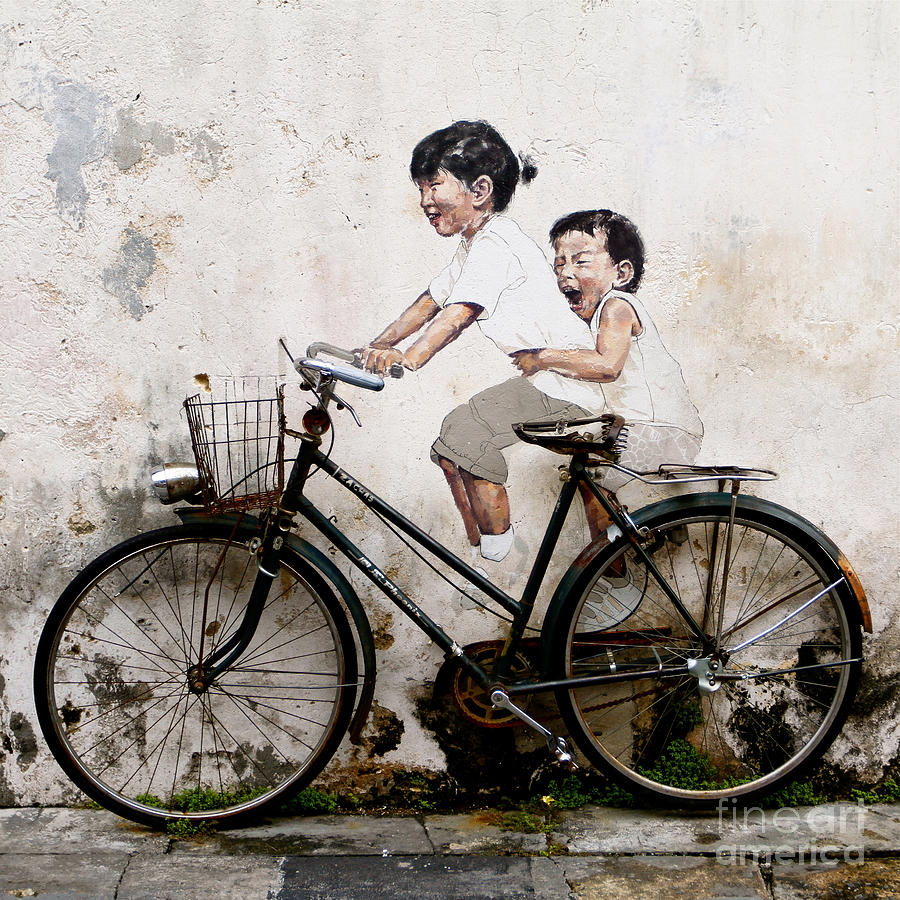 Mural Photograph - Little Children on a Bicycle by Donald Chen