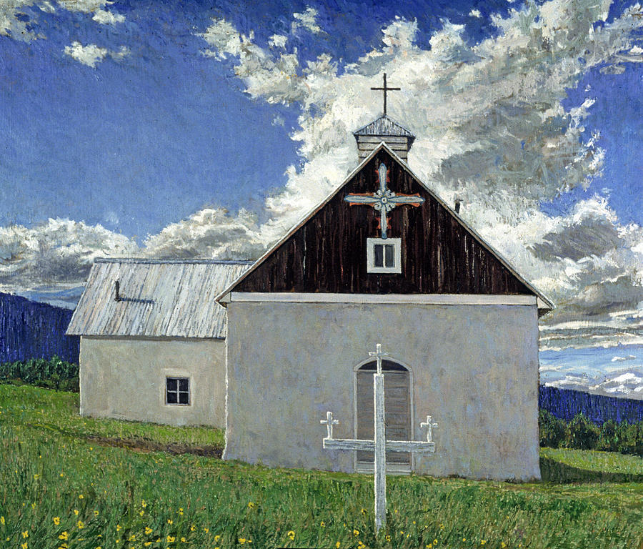 Southwestern Landscape Painting - Little Church At Ocate by Steven Boone