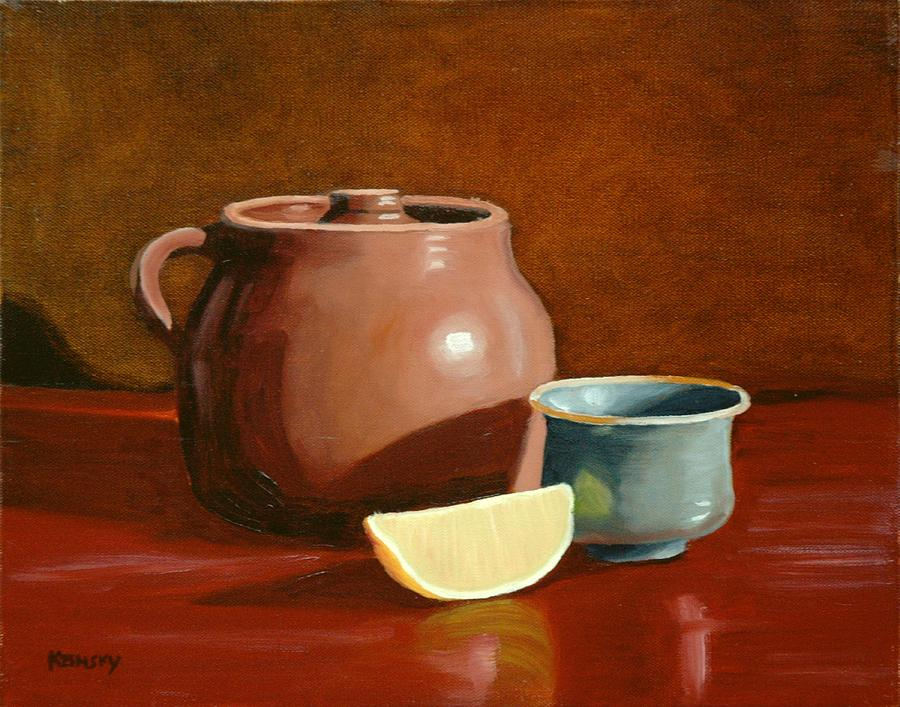Pots Painting - Little Clay Pots And Lemon by Daniel Kansky