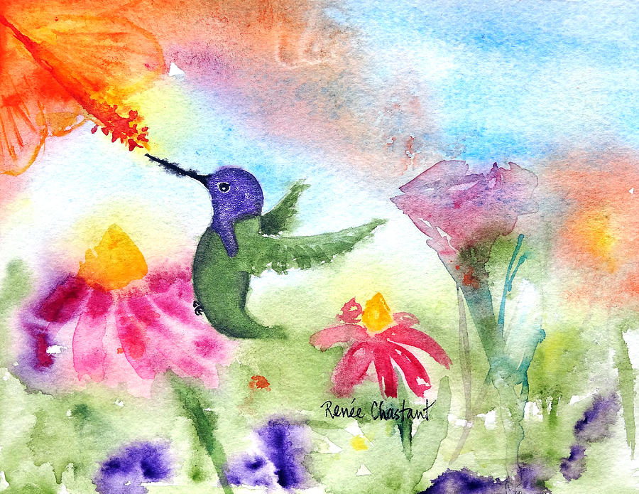 Hummingbird Painting - Little Costa by Renee Chastant