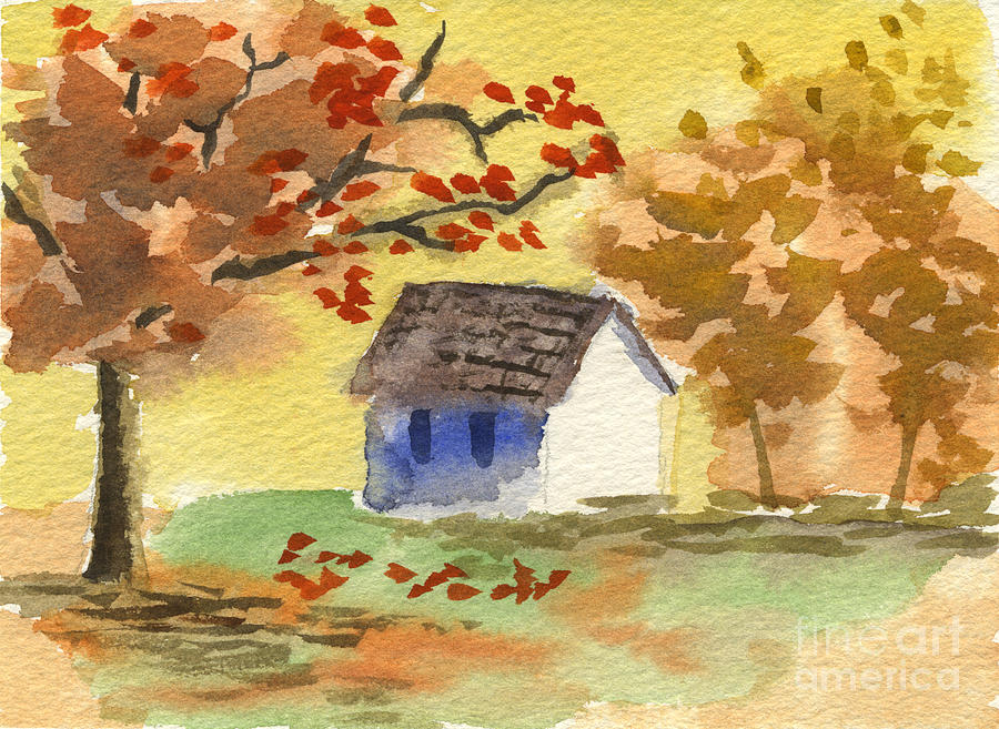Little Cottage Painting - Little Cottage in Autumn by Beverly Claire Kaiya