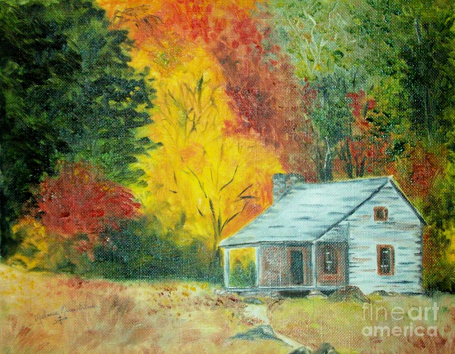 Little Cottage In The Autumn Woods Painting By Melanie Palmer