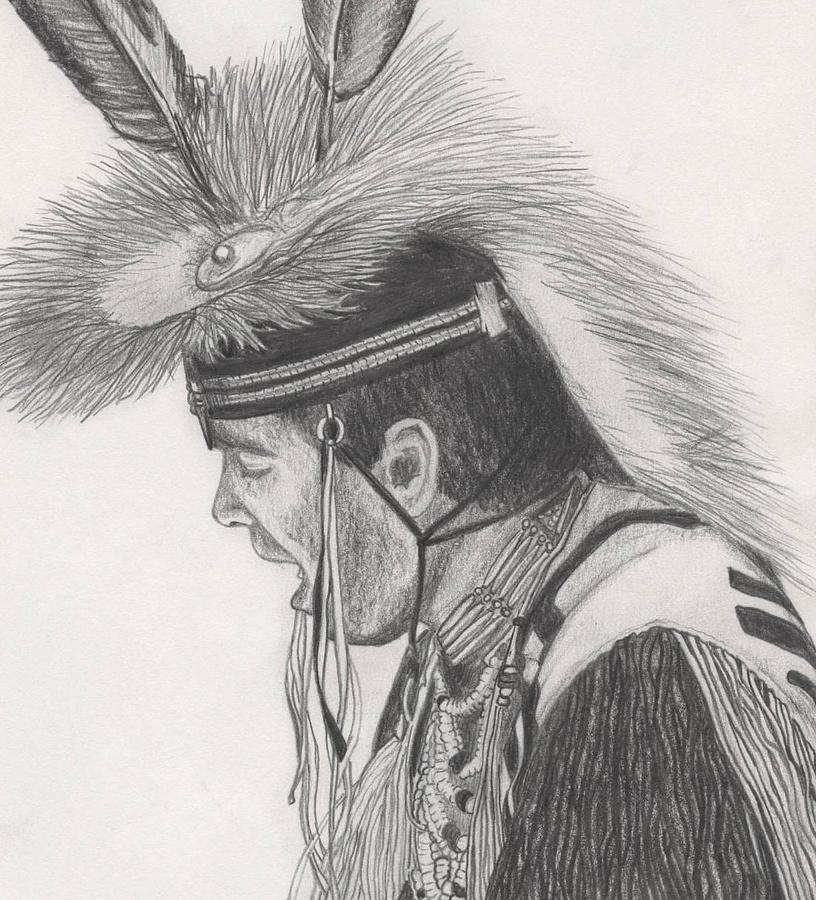 Indians Drawing - Little Creek by Lew Davis