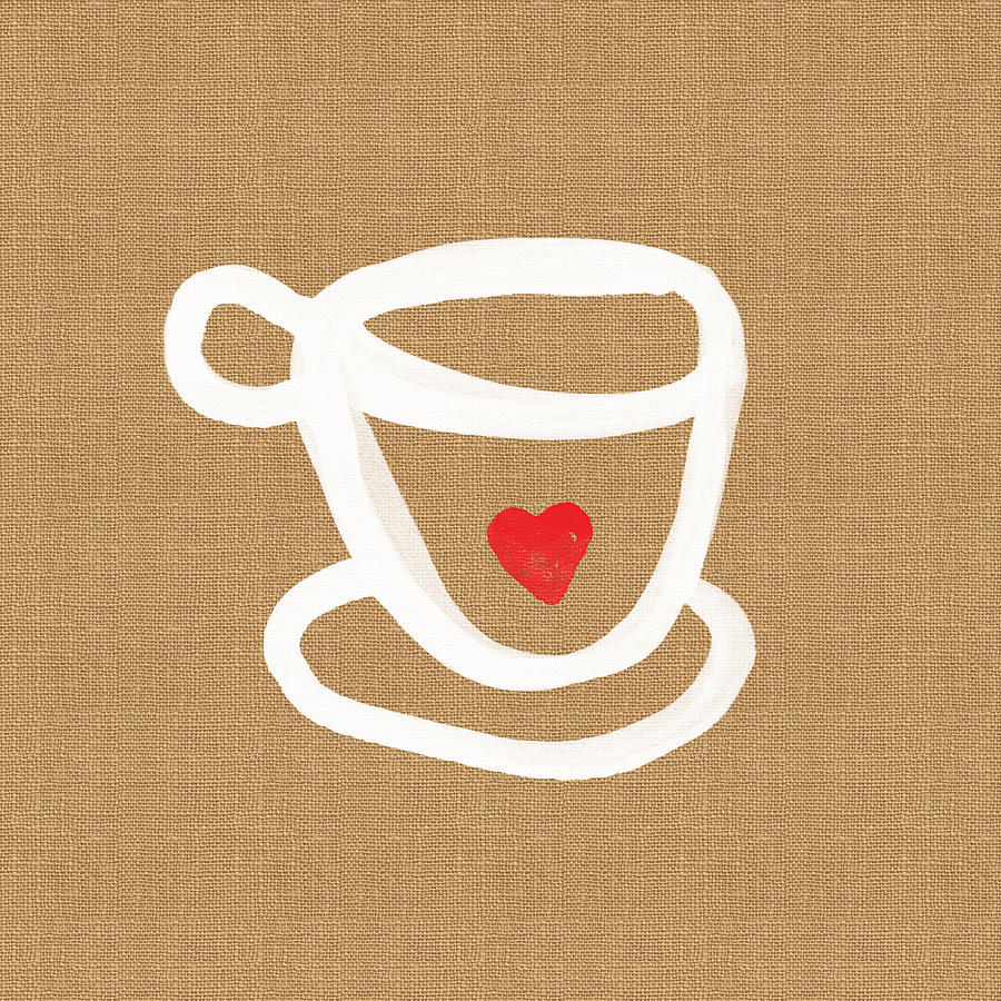 Teacup Painting - Little Cup of Love by Linda Woods