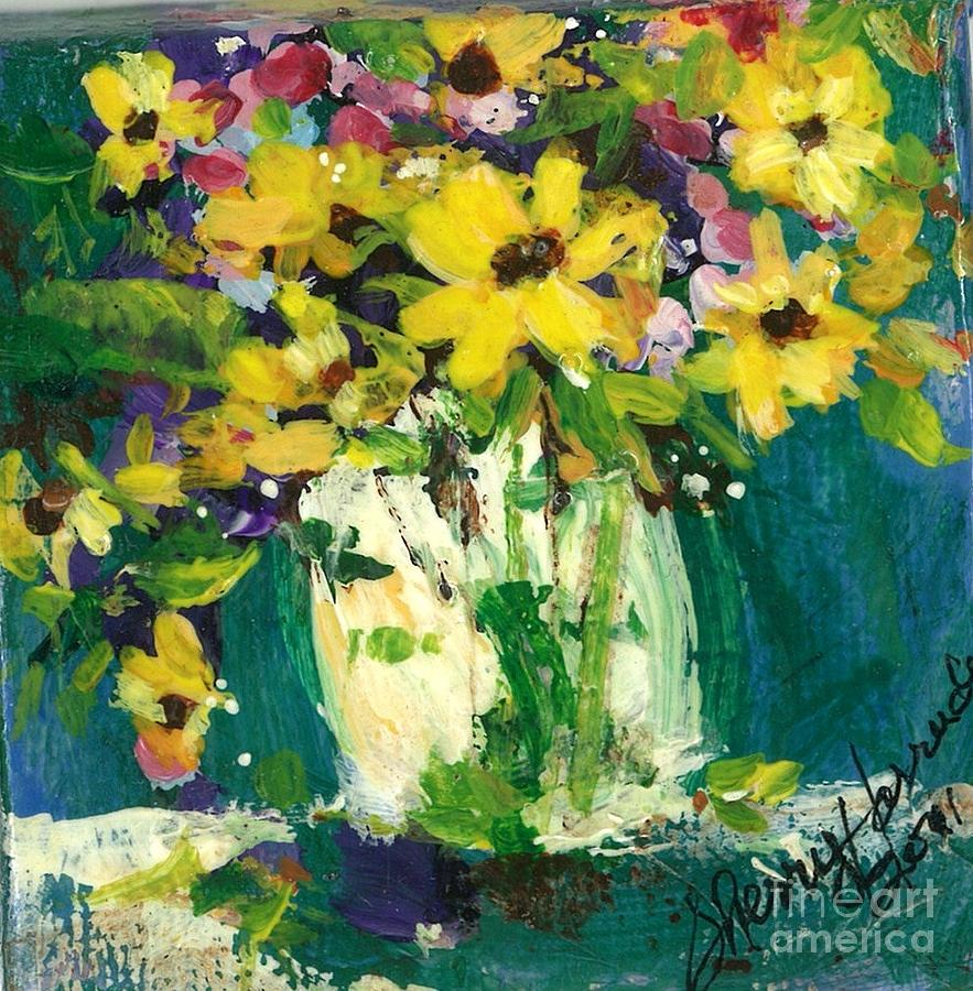 Daisies Painting - Little Daisies by Sherry Harradence